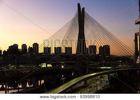 Sunset in Estaiada bridge Sao Paulo, Brazil