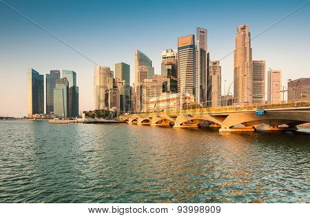 Morning View of Singapore Central Business District (CBD).