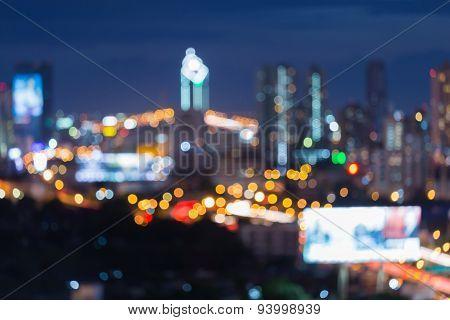 Defocused lights bokeh of city downtown