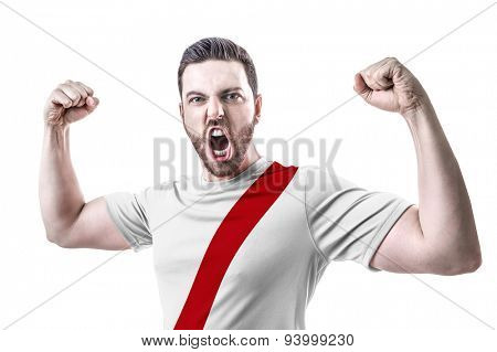 Peruvian soccer player celebrates on white background