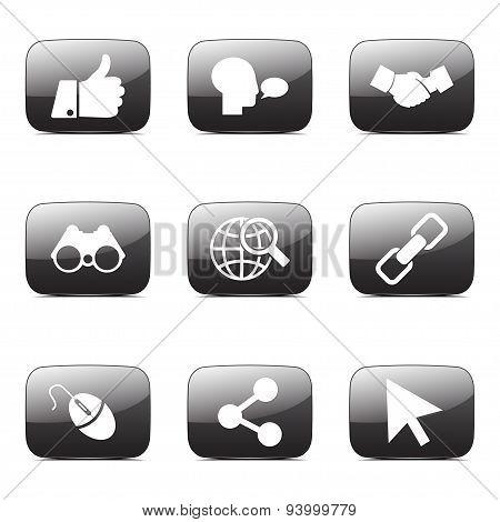 Social Internet Square Vector Black Button Icon Design Set