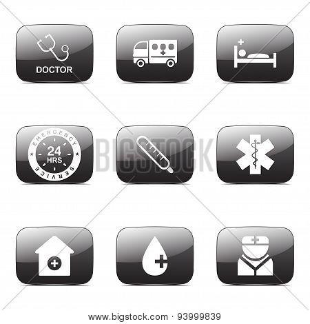 Hospital Health Square Vector Black Button Icon Design Set