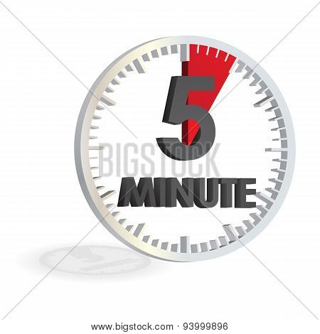 5 Minutes White Clock Timer