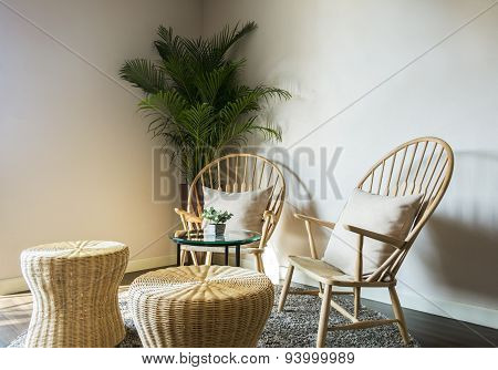 Wood Chair In Living Room