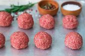picture of meatball  - Cooking meatballs of ground beef with spices  - JPG