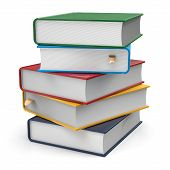 image of 5s  - Books textbooks stack five 5 blank covers different colorful multicolored with bookmarks - JPG