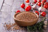 pic of buckwheat  - Buckwheat in a bowl with tomato - JPG