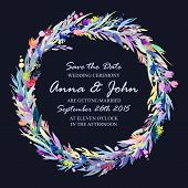stock photo of life event  - Wedding invitation design template with watercolor floral circular frame - JPG