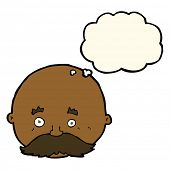 stock photo of bald man  - cartoon bald man with mustache with thought bubble - JPG