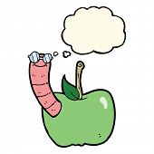 stock photo of worm  - cartoon apple with worm with thought bubble - JPG