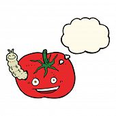 picture of caterpillar cartoon  - cartoon tomato with bug with thought bubble - JPG