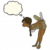 foto of valkyrie  - cartoon viking girl bowing with thought bubble - JPG