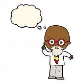 stock photo of professor  - cartoon professor with thought bubble - JPG