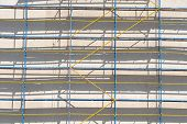 image of scaffold  - scaffolding for exterior decoration of a multistory building - JPG