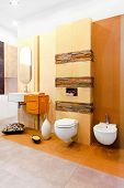stock photo of lavabo  - Nature style marble toilet in earth colours - JPG