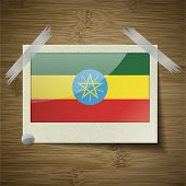 pic of ethiopia  - Flags of Ethiopia at frame on wooden texture - JPG