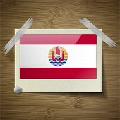 pic of french polynesia  - Flags of french polynesia at frame on wooden texture - JPG
