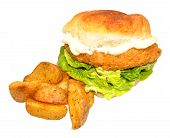 foto of southern fried chicken  - Southern fried chicken sandwich with potato wedges isolated on a white background - JPG