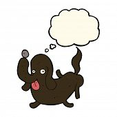 stock photo of sticking out tongue  - cartoon dog sticking out tongue with thought bubble - JPG