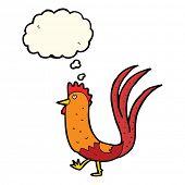 stock photo of cockerels  - cartoon cockerel with thought bubble - JPG