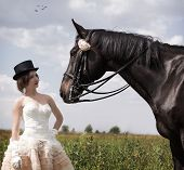 pic of horse girl  - Beautiful girl in vintage dress and her horse - JPG
