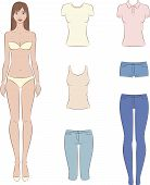 picture of knickers  - Vector illustration of paper doll with a set of casual clothes - JPG