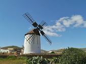 stock photo of canary-islands  - A historic wind mill in Tiscamanita on the Spanish island Fuerteventura one of the Canary islands in the Atlantic Ocean - JPG
