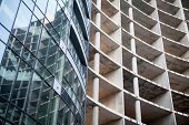 pic of reinforcing  - Unfinished and finished building of reinforced concrete panels without and with windows - JPG