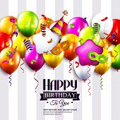 image of birthday hat  - Vector birthday card with colorful balloons - JPG