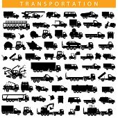 stock photo of tractor trailer  - Black Pictogram of different truck - JPG