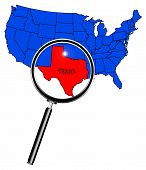 foto of texas map  - An outline map of The United States of America with Texas highlited under a magnifying glass - JPG