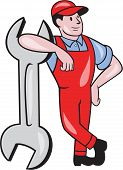 image of overalls  - Illustration of a mechanic wearing hat and overalls looking to the side leaning on giant spanner wrench facing front on isolated white background done in cartoon style - JPG