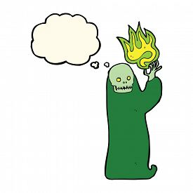 picture of ghoul  - cartoon waving halloween ghoul with thought bubble - JPG