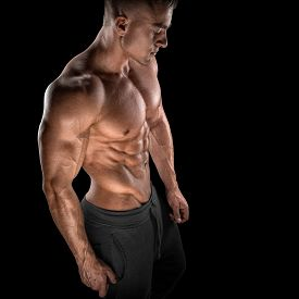 picture of bicep  - Young athletic man torso showing six pack abs - JPG