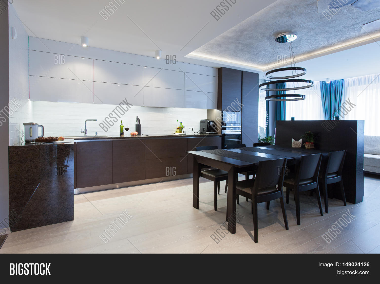 Interior high tech kitchen table image photo bigstock for High tech kitchen