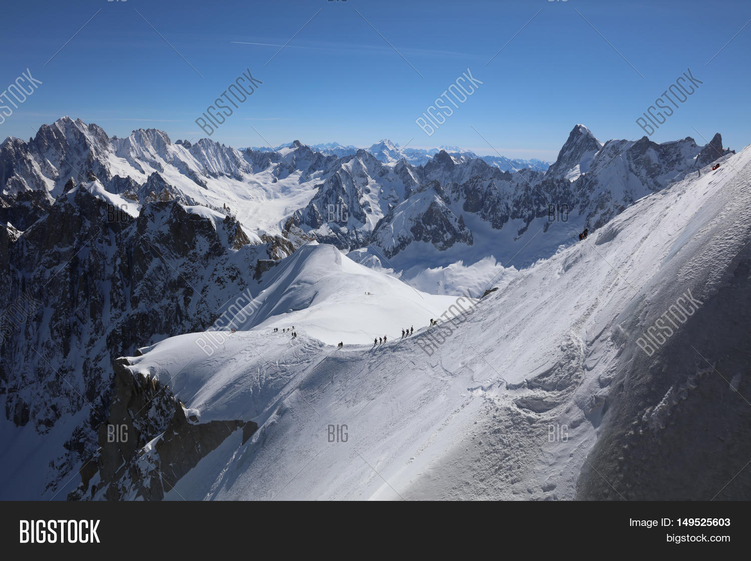 chamonix mont blanc may 20 2016 skiing area vallee blanchet at aiguille de