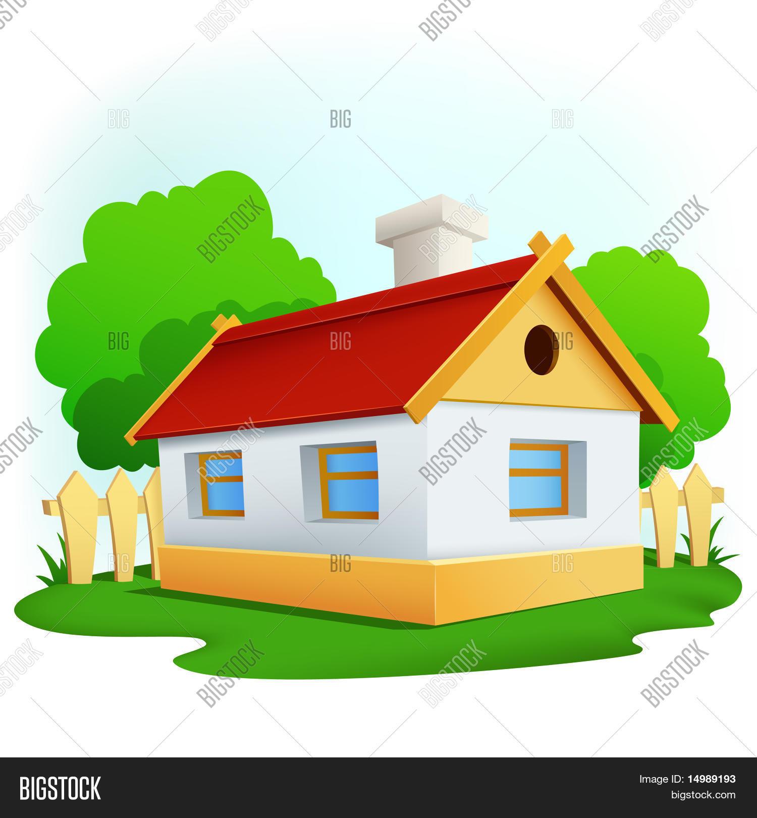Vector y foto casa rural de dibujos animados con bigstock for Casa rural mansion terraplen seis