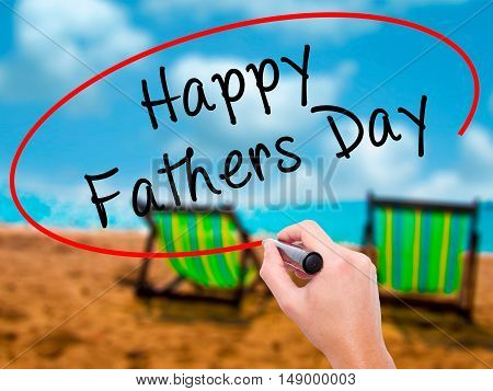 Man Hand Writing Happy Fathers Day With Black Marker On Visual Screen