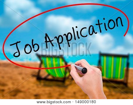 Man Hand Writing Job Application With Black Marker On Visual Screen