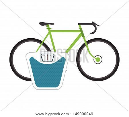 flat design bike and  weight scale  icon vector illustration