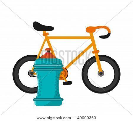 flat design bike and  sports bottle icon vector illustration
