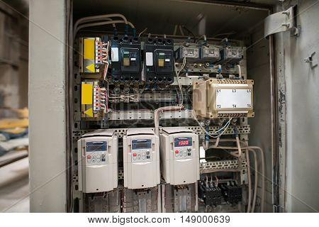 Photo of electrical panel with fuses and contactors