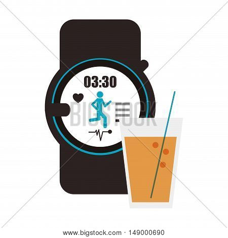 flat design heart rate wrist monitor and  glass beverage icon vector illustration