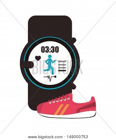 flat design heart rate wrist monitor and sneaker  icon vector illustration