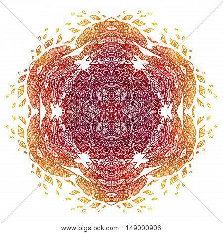 Fiery red and orange doodle style feathers abstract vector mandala