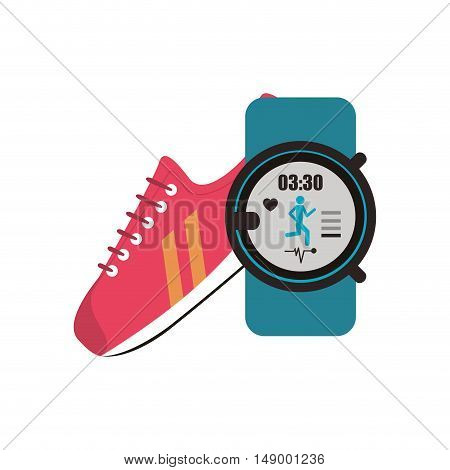 flat design sneaker and  heart rate wrist monitor  icon vector illustration