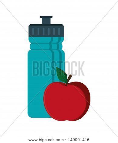 flat design sports bottle and apple  icon vector illustration