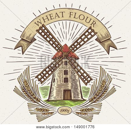 Windmill with wheat and tape as a design element, drawn by hand, in a graphic style.