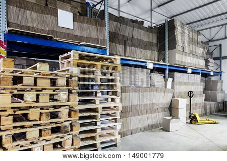 modern warehouse of paper and cardboard