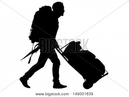Man whit travel big bag on white background
